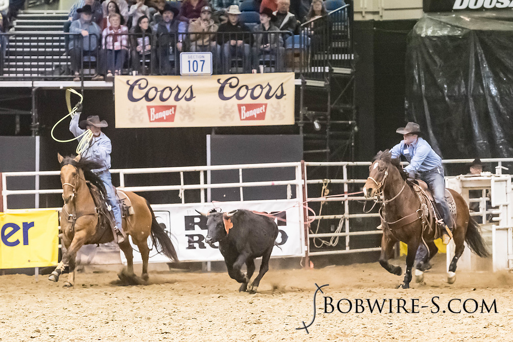 Wyatt Bice and Derick Fleming compete in team roping at the Bismarck Rodeo on Friday, Feb. 2, 2018. They had a no time on the run.