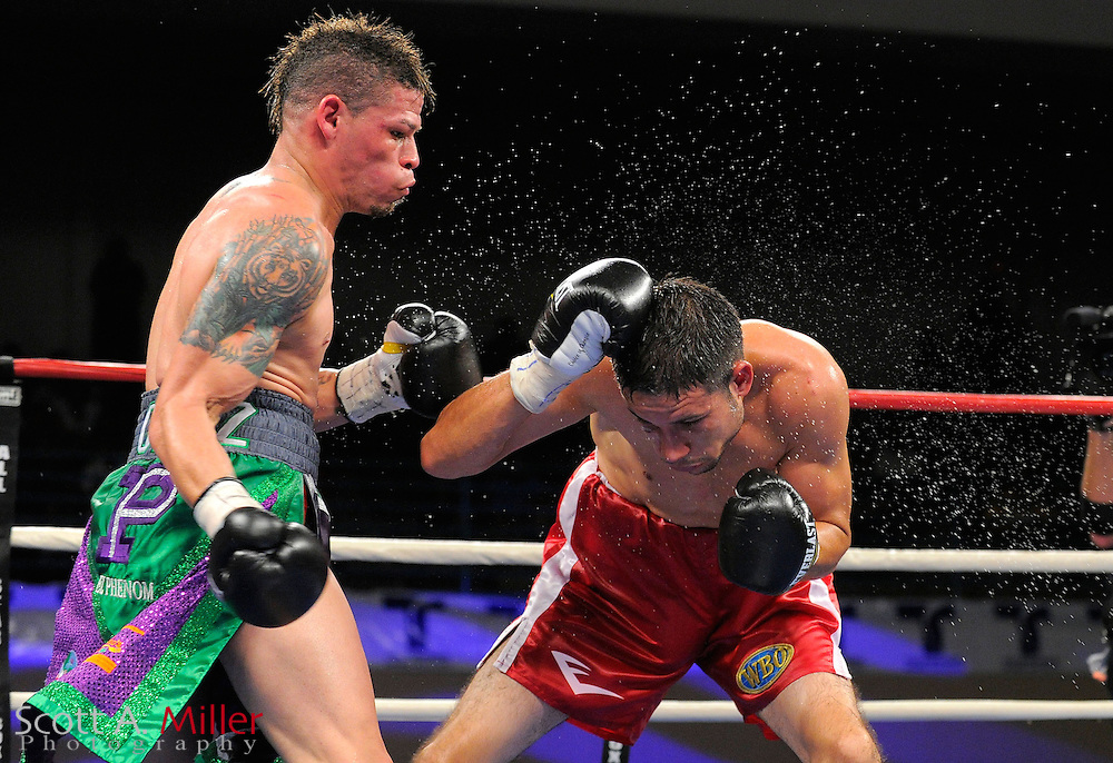 Orlando Cruz, left, lands a punch on Jorge Pazos during their WBO NABO featherweight title fight at the Kissimmee Civic Center in Kissimmee, Florida October 19, 2012.  Cruz won by decision. ©2012 Scott A. Miller.