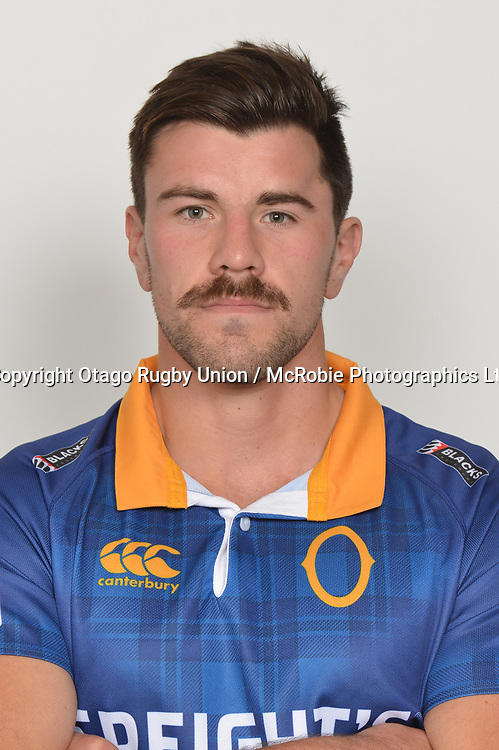 Adam Knight.<br /> Headshots of the Otago Rugby Union squad for the 2017 season of the Mitre 10 Cup Championship.<br /> Photo credit: Otago Rugby Union