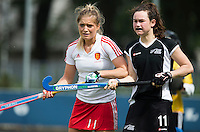 BREDA (Neth.)  Kelsey Smith (r) Susannah petty (l) of England during the match  New Zealand vs England U21 women . Volvo Invitational Tournament U21. COPYRIGHT KOEN SUYK