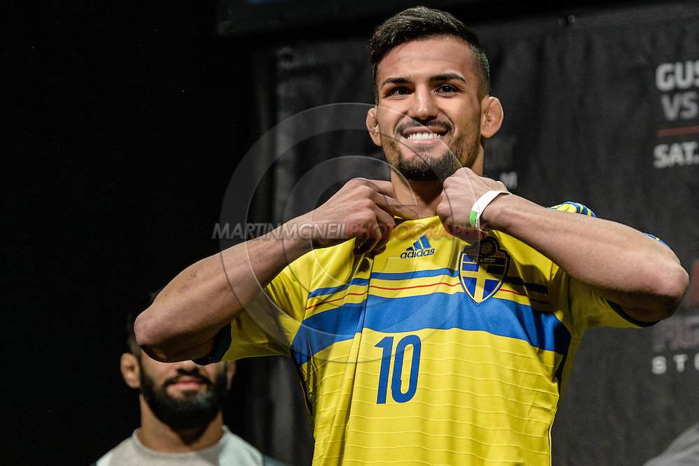 "STOCKHOLM, SWEDEN, JANUARY 23, 2015: Mirsad Bektic steps on stage uring the official weigh in for ""UFC on Fox 14: Gustafsson vs. Johnson"" inside Hovet Arena in Stockholm, Sweden"