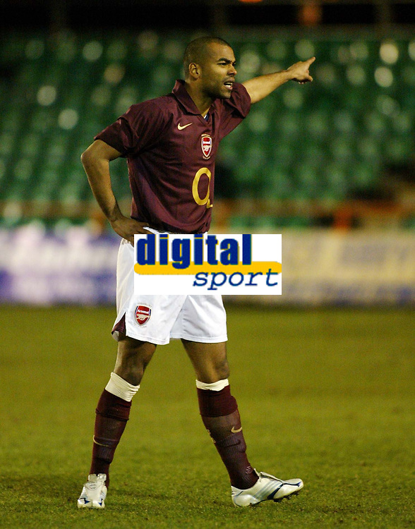 Photo: Chris Ratcliffe.<br /> Arsenal Reserves v Tottenham Hotspurs Reserves. 27/02/2006. <br /> Ashley Cole before getting injured again less than five minutes into his return for Arsenal reserves