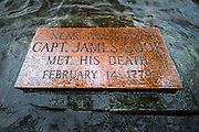 Plaque marking the spot where Captain James Cook was killed, Kealakekua Bay, Kona Coast, Hawaii