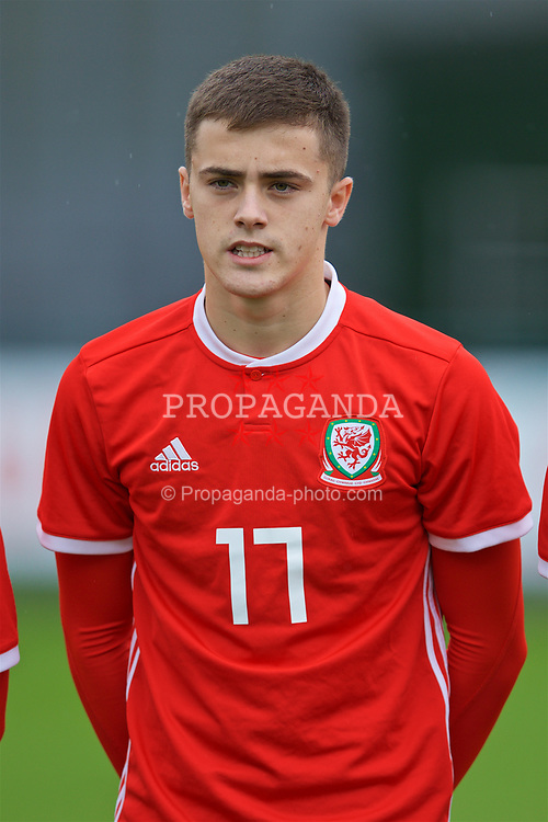 NEWPORT, WALES - Monday, October 14, 2019: Wales' Lewis Collins lines-up before an Under-19's International Friendly match between Wales and Austria at Dragon Park. (Pic by David Rawcliffe/Propaganda)