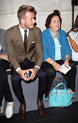 David Beckham in the from row at the  Victoria Beckham show New York Fashion Week for Spring/ Summer 2013 , Sunday 9th September 2012. Photo by: Stephen Lock / i-ImagesDavid Beckham sits next to Suzy Menkes in the front row at the  Victoria Beckham show at New York Fashion Week for Spring/ Summer 2013 , Sunday 9th September 2012. Photo by: Stephen Lock / i-Images