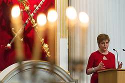 © Licensed to London News Pictures. 28/01/2019. London, UK.  First Minister of Scotland Nicola Sturgeon makes a speech at the City of London hosted Burns Night Dinner at Mansion House. Photo credit: Ray Tang/LNP
