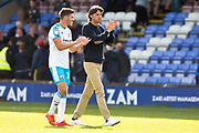 Crawley Town manager Gabriele Cioffi applaud the fans during the EFL Sky Bet League 2 match between Macclesfield Town and Crawley Town at Moss Rose, Macclesfield, United Kingdom on 7 September 2019.