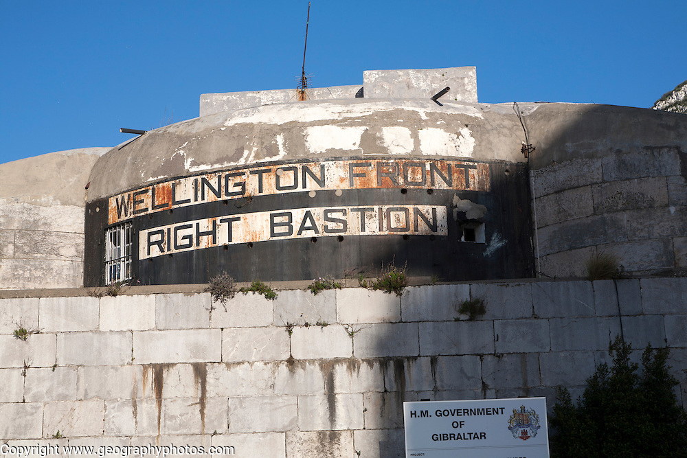 Wellington Front Right Bastion historic defensive walls,  Gibraltar, British terroritory in southern Europe
