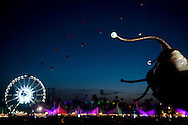 A giant moving snail, part of the art of Coachella, moves across the Polo Grounds during the 2013 Coachella Valley Music and Arts Festival in Indio, Calif. Friday.