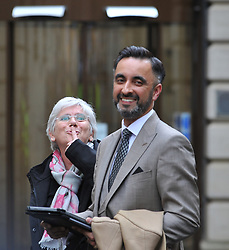 Pictured: Professor Ponsati signals her supporters to be quiet after she leaves court as her lawyer Aamer Anwar reads a statement to the media.<br /> <br /> Former Catalan government minister Professor Clara Ponsati appeared in court in Edinburgh, Scotland today, in response to a European arrest warrant issued by the Spanish prosecutors following the disputed Catalan independence referendum last year, which Spain has ruled illegal.<br /> <br /> © Dave Johnston/ EEm