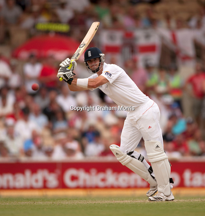 Kevin Pietersen bats during his double century in the second Ashes Test Match between Australia and England at the Adelaide Oval. Photo: Graham Morris (Tel: +44(0)20 8969 4192 Email: sales@cricketpix.com) 5/12/10
