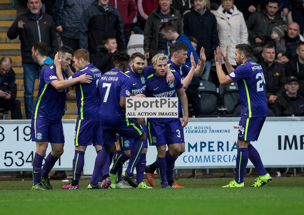 Jason Cummings (Hibernian) celebrates goal  for Hibs during the Ladbrokes Championship match between St Mirren v Hibernian at St Mirren Park on Saturday 7 November 2015<br /> <br /> Picture: Alan Rennie