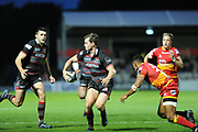 Back pass from Chris Dean sets up Kinghorn Blair for a try during the Guinness Pro 14 2017_18 match between Edinburgh Rugby and Dragons Rugby at Myreside Stadium, Edinburgh, Scotland on 8 September 2017. Photo by Kevin Murray.