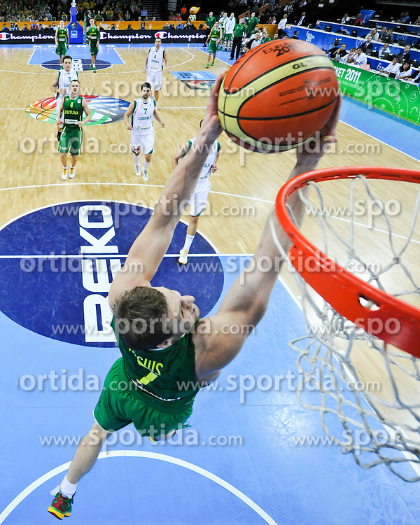 Martynas Pocius of Lithuania during basketball game between National basketball teams of Slovenia and Lithuania at of FIBA Europe Eurobasket Lithuania 2011, on September 15, 2011, in Arena Zalgirio, Kaunas, Lithuania. Lithuania defeated Slovenia 80-77.  (Photo by Vid Ponikvar / Sportida)
