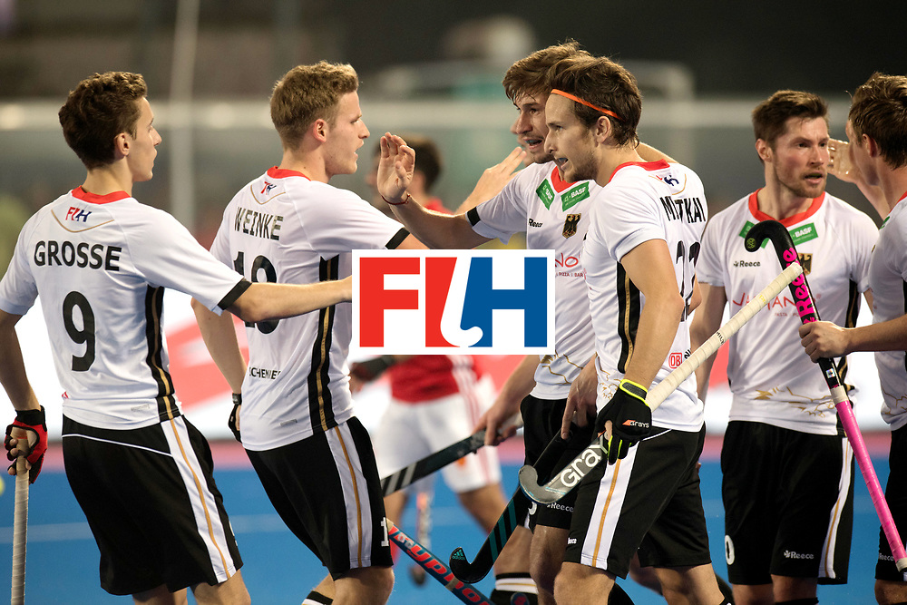 Odisha Men's Hockey World League Final Bhubaneswar 2017<br /> Match id:01<br /> Germany v England<br /> Foto: Mats Grambusch scores 1-0, Grtose (l) , Weinke and Fuchs Martin Zwicker (r).<br /> WORLDSPORTPICS COPYRIGHT FRANK UIJLENBROEK