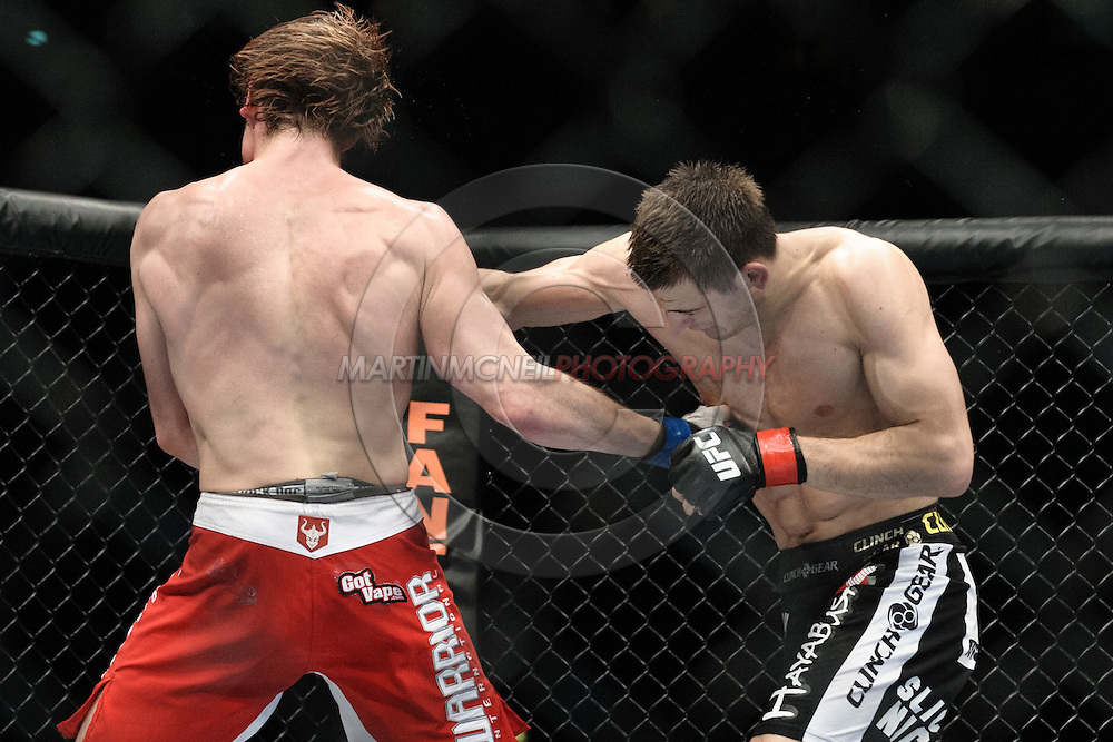 "MANCHESTER, ENGLAND, NOVEMBER 14, 2009: Matthew Riddle and Nick Osipczak during ""UFC 105: Couture vs. Vera"" inside the MEN Arena in Manchester, United Kingdom."