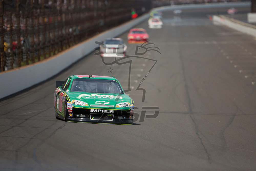 INDIANPOLIS, IN - JUL 29, 2012:  Dale Earnhardt, Jr. (88) brings his car down the front stretch during the Curtiss Shaver 400 presented by Crown Royal Sprint Cup Series race at the Indianapolis Motor Speedway in Indianapolis, IN.