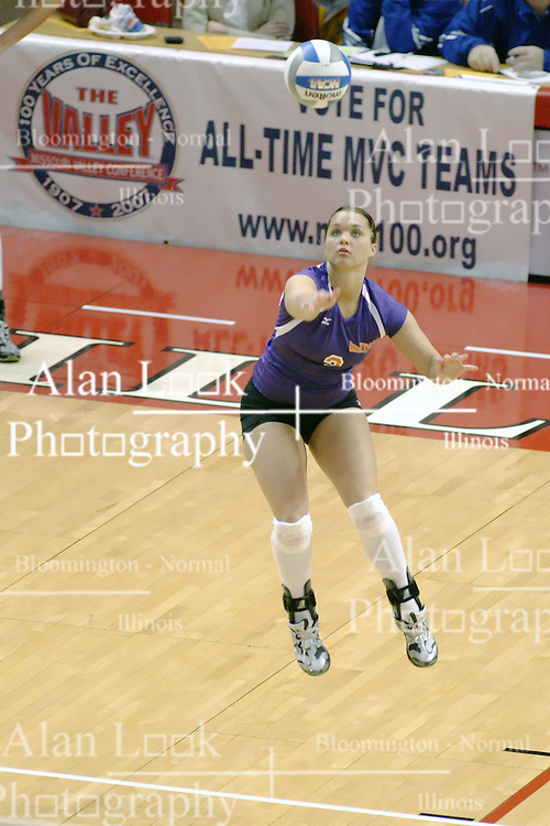 24 November 2006: Kerry Sylvester makes a running serve during a Quarterfinal match between the Evansville University Purple Aces and the Missouri State University Bears.The Tournament was held at Redbird Arena on the campus of Illinois State University in Normal Illinois.<br />