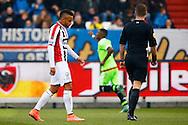 06-03-2016 VOETBAL:WILLEM II-AJAX:TILBURG <br /> Funso Ojo van Willem II is teleurgesteld na de prachtige goal van Riechedley Bazoer van Ajax die op de achtergrond zjin doelpunt viert<br /> <br /> Foto: Geert van Erven
