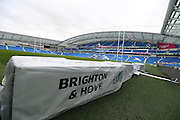 Rebranding a stadium from football to rugby. Brighton Community Stadium, Brighton and Hove, England on 17 December 1999.