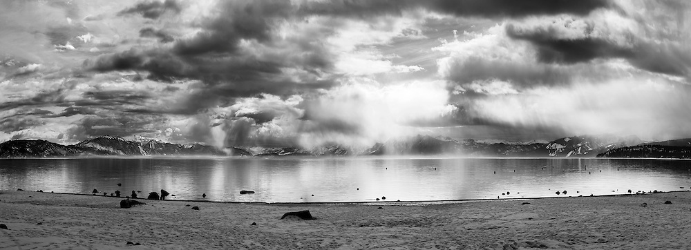 """Winter Storm at Tahoe Vista 2"" - A black and white photograph of a clearing winter storm from Tahoe Vista Beach in North Lake Tahoe"