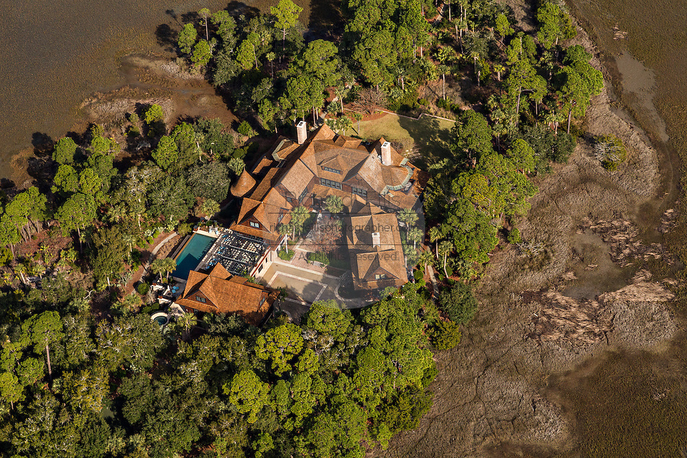 Aerial view of estate home along Oyster Shell Road in Kiawah Island, SC.