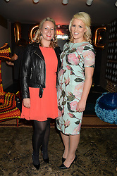 Left to right, PAULA COYLE and DANIELLE COYLE sisters of Natalie Coyle at a party to celebrate the engagement of Natalie Coyle and Zafar Rushdie held at Library, St.Martin's Lane, London on 6th September 2014.