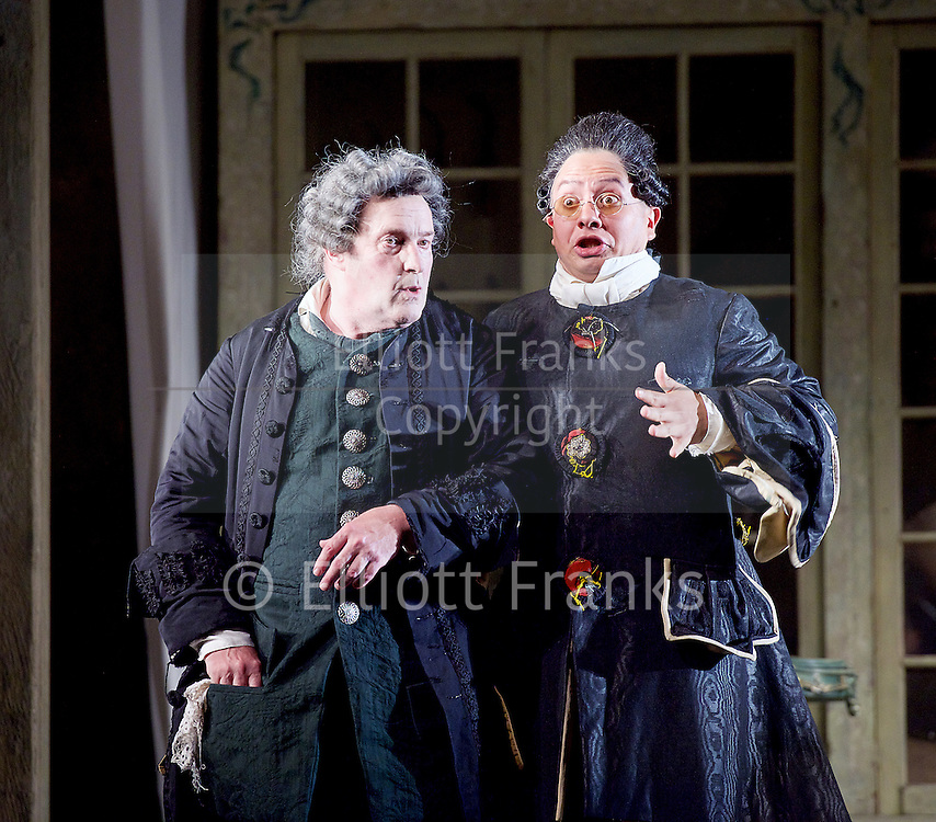 The Barber of Seville <br /> by Rossini <br /> English National Opera, London Coliseum, London, Great Britain <br /> Rehearsal <br /> 25th September 2015 <br /> <br /> Andrew Shore as Doctor Bartolo <br /> <br /> Eleazar Rodriguez as Count Almaviva <br /> <br /> Photograph by Elliott Franks <br /> Image licensed to Elliott Franks Photography Services