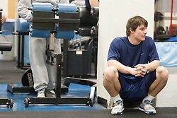 27 November 2007: North Carolina Tar Heels men's lacrosse Sean Jackson during a weight lifting session in Chapel Hill, NC.