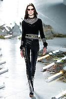 Anna Cholewa walks the runway wearing Rodarte Fall 2015 during Mercedes-Benz Fashion Week in New York on February 17, 2015