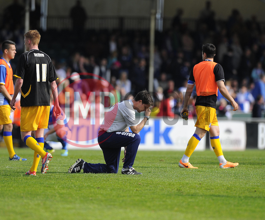 Bristol Rovers First Team Manager, Darrell Clarke is devastated after seeing his side relegated - Photo mandatory by-line: Joe Meredith/JMP - Mobile: 07966 386802 03/05/2014 - SPORT - FOOTBALL - Bristol - Memorial Stadium - Bristol Rovers v Mansfield - Sky Bet League Two