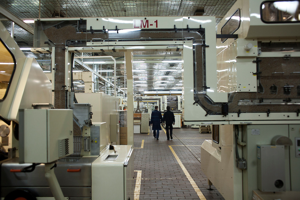 Inside of the Drina Cigarettes factory in downtown Sarajevo.
