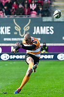 Rugby Union - 2019 / 2020 Guinness Pro14 - Scarlets vs. Cheetahs<br /> <br /> Ruan Pienaar of Cheetahs kicks a penalty , at Parc y Scarlets.<br /> <br /> COLORSPORT/WINSTON BYNORTH