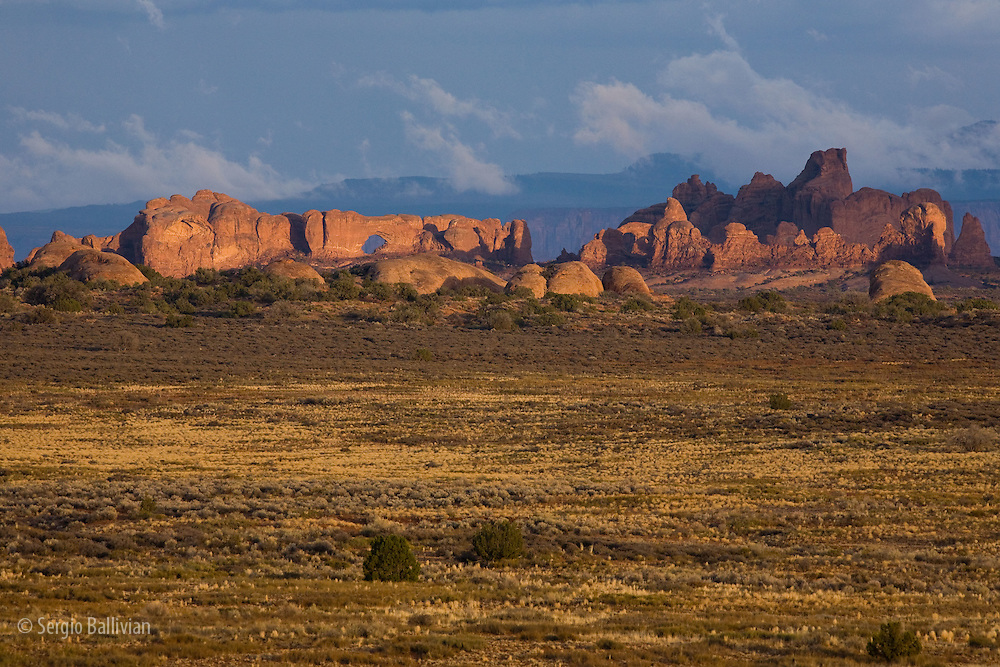 The view of Canyons, mesas and arches from Willow Flats Road in Arches National Park near Moab, Utah.