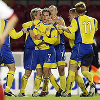 Clyde v St Johnstone....29.12.07 <br /> Kevin Moon is mobbed by team mates after making it 3-1 to saints<br /> Picture by Graeme Hart.<br /> Copyright Perthshire Picture Agency<br /> Tel: 01738 623350  Mobile: 07990 594431