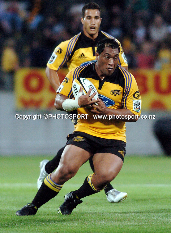 Hurricanes prop Neemia Tialata in action during the 2006 Super 14 rugby union match between the Hurricanes and the Western force at Yarrow Stadium, New Plymouth, on Saturday 18 February, 2006. Photo: John Cowpland/PHOTOSPORT<br />