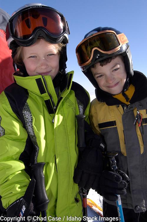 Idaho. Bogus Basin. Kids skiing on a sunny day. MR