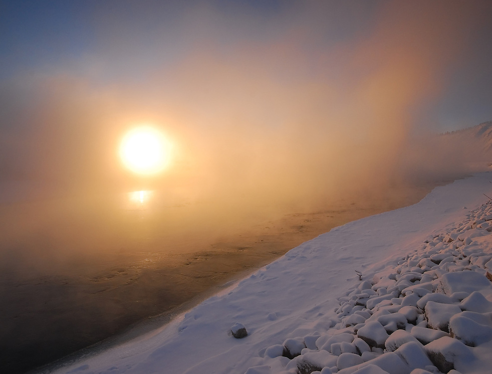 Ice fog on the Yukon River at -35C