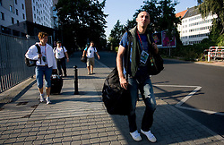 Athlete Martina Ratej  of Slovenia and Matija Sestak at departure back to Slovenia during day five of the 12th IAAF World Athletics Championships at the Hotel Estrel on August 18, 2009 in Berlin, Germany. (Photo by Vid Ponikvar / Sportida)