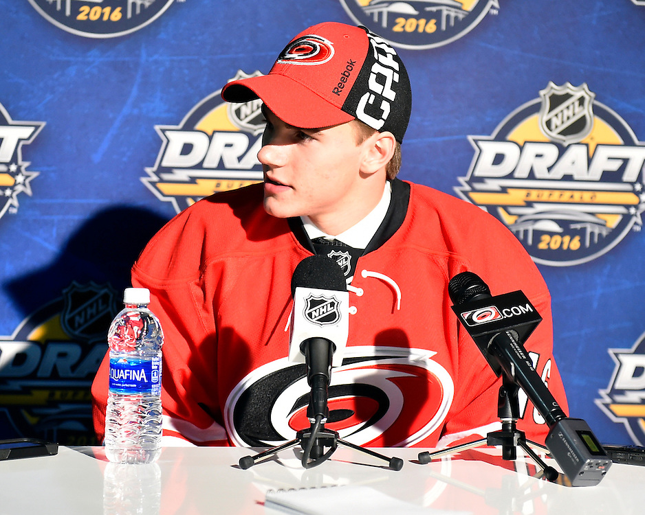 Jake Bean of the Calgary Hitmen was selected by the Carolina Hurricanes in the first round of the 2016 NHL Entry Draft in Buffalo, NY on Friday June 24, 2016. Photo by Aaron Bell/CHL Images