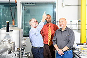 Gaithersburg, Maryland - November 09, 2018: Scientists at the National Institute of Standards and Technology (L-R) Dr. Robert Vocke, Dr. Savelas Rabb, and Patrick Abbott have worked to redefine how the mole is measured. <br /> <br /> Scientists at the National Institute of Standards and Technology have helped improved methods for definitively measuring a kilogram. Representatives from 57 countries will vote at the General Conference on Weights and Measures in Versailles, France to redefine four basic units of measurement November 16, 2018. <br /> <br /> CREDIT: Matt Roth for The New York Times<br /> Assignment ID:  30226894A