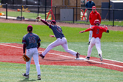 NORMAL, IL - April 08: The put out throw arrives to Ben Whetstone before John Rave gets to 1st base during a college baseball game between the ISU Redbirds  and the Missouri State Bears on April 08 2019 at Duffy Bass Field in Normal, IL. (Photo by Alan Look)