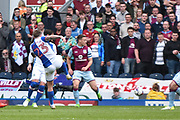 Blackburn Rovers Midfielder, Danny Guthrie (23) shoots during the EFL Sky Bet Championship match between Blackburn Rovers and Aston Villa at Ewood Park, Blackburn, England on 29 April 2017. Photo by Mark Pollitt.