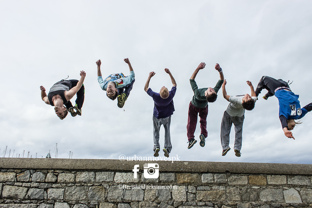 synchronised backflips at the FROM HERE TO THERE freerunning event on Dun Laoghaire pier. FROM HERE TO THERE - Freerunning Jam and documentary screening, Dublin, Ireland hosted by Jesse La Flair and Pasha Petkuns. From Here To There jam photo shoot Dublin, Ireland with Jesse LaFlair and Pacha Petkuns. #GoingOTE #FH2Tdoc