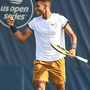 FELIX AUGER-ALLIASSIME celebrates a second round victory at the Rock Creek Tennis Center.
