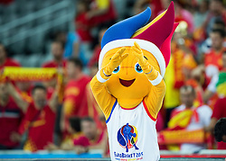 Frenkie, mascot of Eurobasket during basketball match between Netherlands and Macedonia at Day 2 in Group C of FIBA Europe Eurobasket 2015, on September 6, 2015, in Arena Zagreb, Croatia. Photo by Vid Ponikvar / Sportida