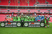 Forest green Rovers lift the trophy during the Vanarama National League Play Off Final match between Tranmere Rovers and Forest Green Rovers at Wembley Stadium, London, England on 14 May 2017. Photo by Shane Healey.