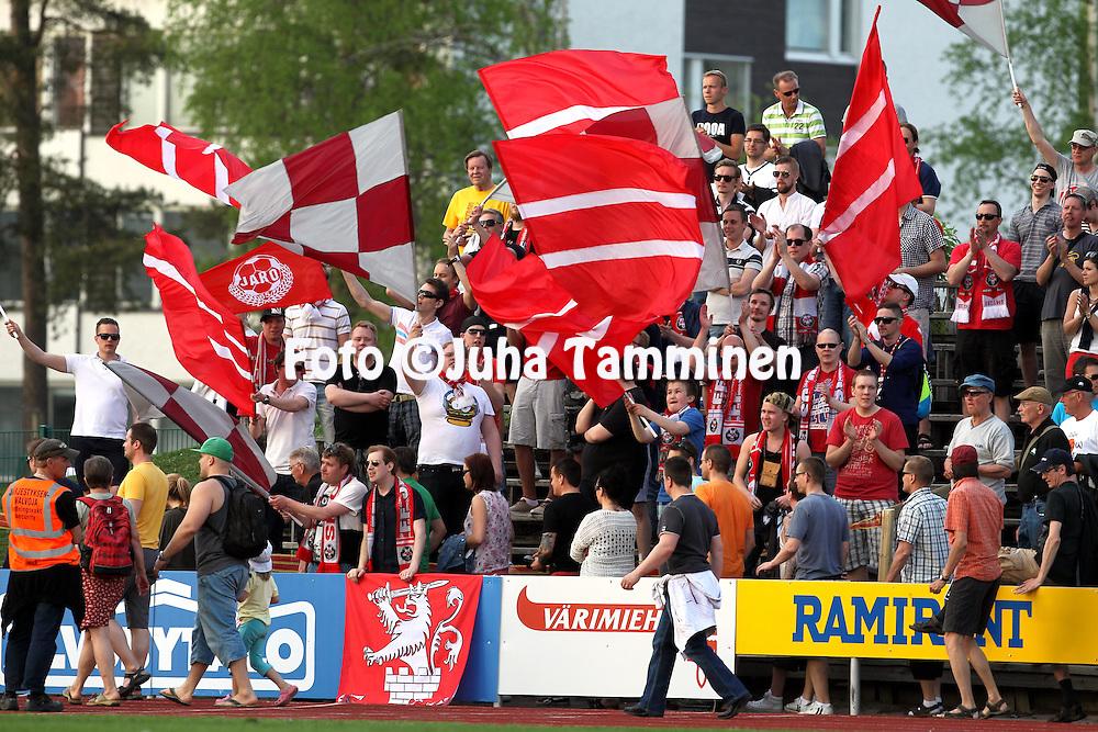 23.5.2014, Keskuskentt&auml;, Sein&auml;joki.<br /> Veikkausliiga 2014.<br /> Sein&auml;joen Jalkapallokerho - FF Jaro.<br /> Jaron fanit.