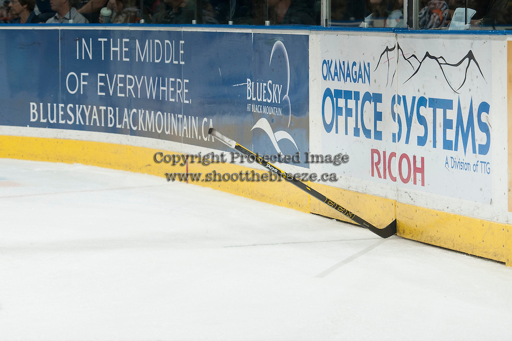KELOWNA, CANADA - OCTOBER 7:  A Swift Current Broncos stick gets stuck in the boards at the Kelowna Rockets on October 7, 2014 at Prospera Place in Kelowna, British Columbia, Canada.  (Photo by Marissa Baecker/Getty Images)  *** Local Caption *** oddity;
