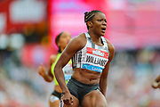 Danielle WILLIAMS of Jamaica, wins the Women's 100m Hurdles Final during the Muller Anniversary Games 2019 at the London Stadium, London, England on 20 July 2019.